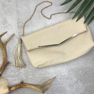 Atmosphere White Fringe Vegan Leather Clutch NEW